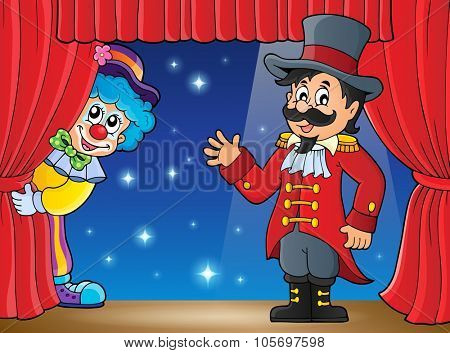 Stage with ringmaster and lurking clown - eps10 vector illustration.