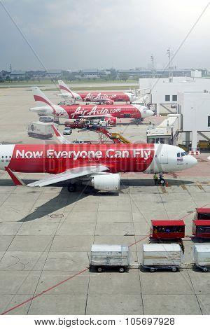 Bangkok, Thailand - April 27, 2013: Airbus A320-200 Thai Airasia Landed At Don Muang International A