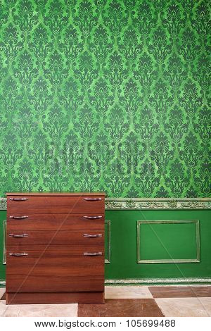 Furniture In Room With Vintage Pattern Interior