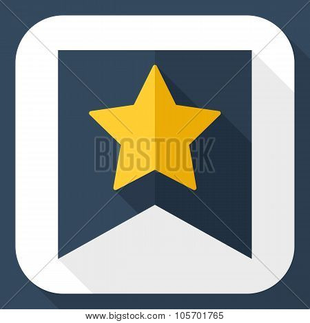 Gold Star On The Flag Icon With Long Shadow
