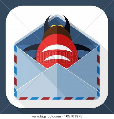 Infected Email Icon With Long Shadow