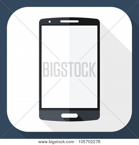 Smart Phone Icon With Long Shadow
