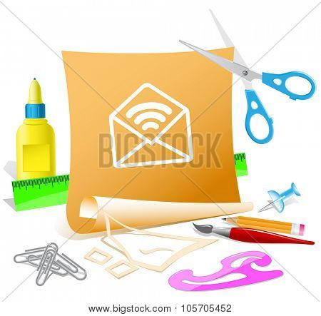 open mail with sound. Paper template. Raster illustration.