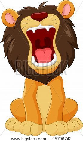 Cartoon happy lion roaring isolated on white background