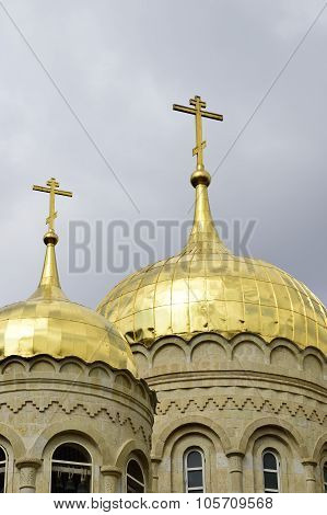 Gold dome of Gorny Russian Orthodox convent in Ein Kerem near Jerusalem Israel poster