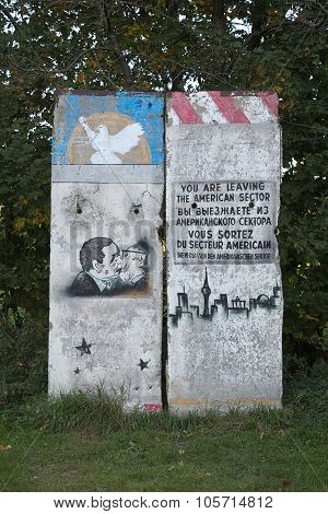 A Part Of The Former Berlin Wall With Historic Graffiti