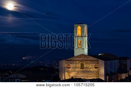 Perugia, Basilica Di San Domenico At Night In A Full Moon