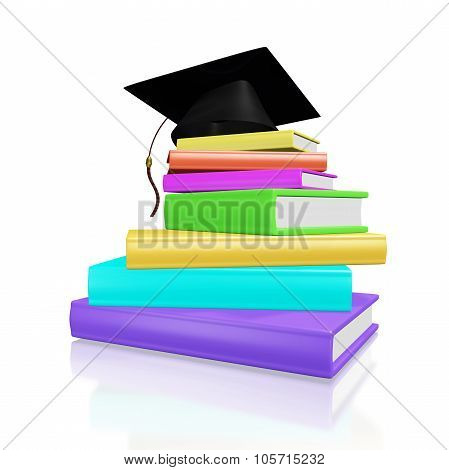 Graduation Cap On A Pile Of Colorful Books