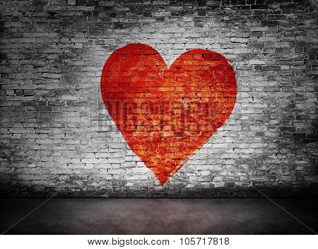 Symbol Of Love Painted On Murky Brick Wall