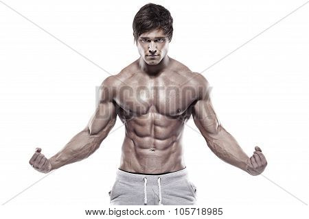 Strong Athletic Man  Showing Muscular Body