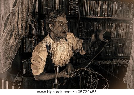 Portrait of a medieval scientist working in his laboratory. Alchemist. Halloween. Sepia.