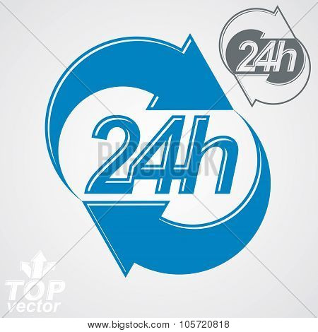 3D Vector 24 Hours Graphic Symbol With Additional Version. Twenty-four Hours A Day Conceptual Elemen