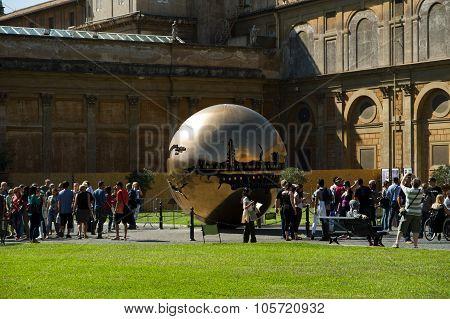 Sphere Within Sphere By Sculptor Arnaldo Pomodoro