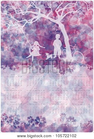 Calendar design. 2016 year. Children playing on a tire swing. Boy girl and dog under the tree. Abstract background. Vector EPS 10 poster