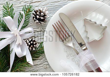 Festive Christmas Dinner Tableware With White Plate