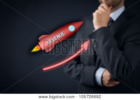 Increase revenue concept. Businessman think how to speedily increase revenue. Spaceship representing dynamic growth. poster