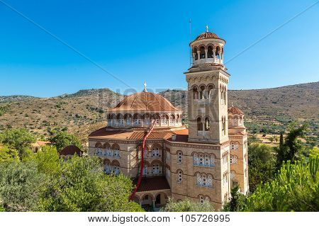 Saint Nektarios Church On Aegina Island, Greece