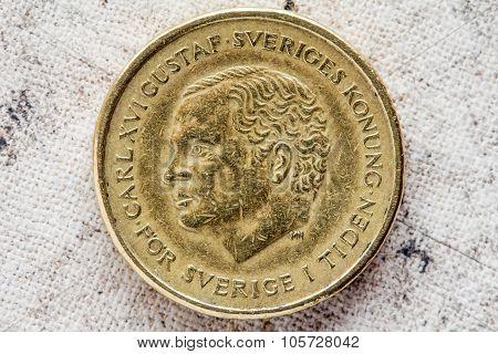 Obverse of ten Swedish kronor with Carl XVI Gustaf portrait poster