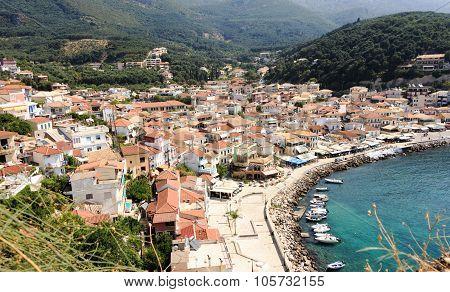 Picturesque coastal city of Parga Greece panoramic view