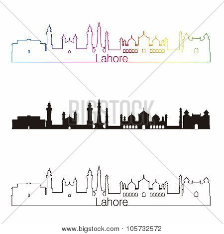 Lahore Skyline Linear Style With Rainbow