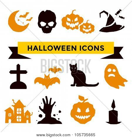 Halloween vector icons set. Pumpkin head, witch broom, candy and halloween hat. Cartoon halloween icons set, halloween silhouette for halloween party. Halloween night, ghost, pumpkin, spider