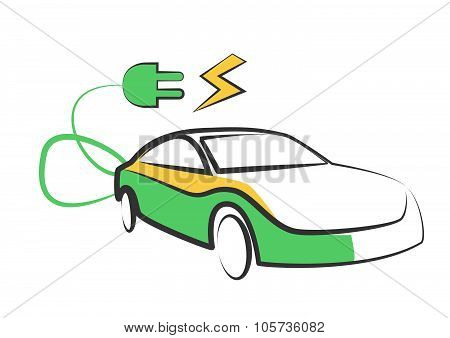 Modern Electric Car Silhouette. Electric Car Vector Illustration