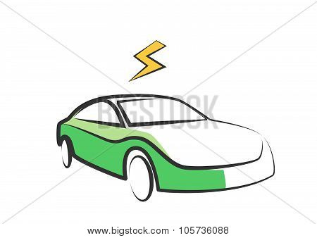 Modern Electric Car Silhouette. Electric Car Vector Illustration -  Flash Symbol