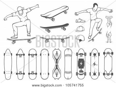 Set Of Skateboards, Equipment, And Elements Of Street Style