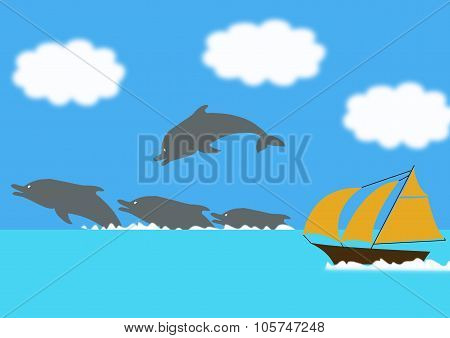 Dolphins And Yacht
