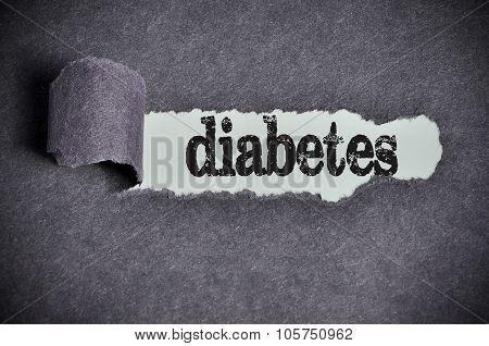 Diabetes Word Under Torn Black Sugar Paper
