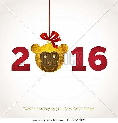 Illustration Of 2016 Year Of The Monkey.