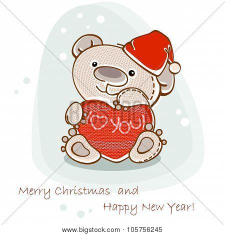 christmas postcard teddy bear