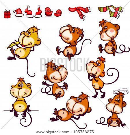Set chinese zodiac monkey