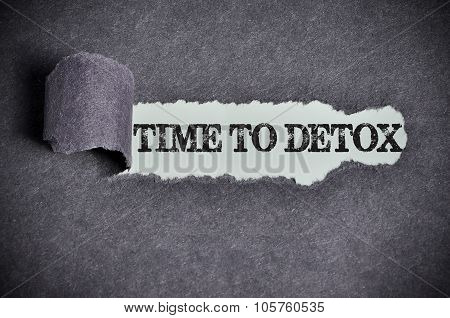 Time To Detox Word Under Torn Black Sugar Paper