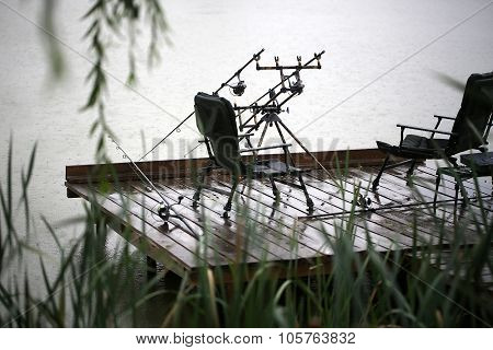 Fishing Tackle Outdoor In Rain
