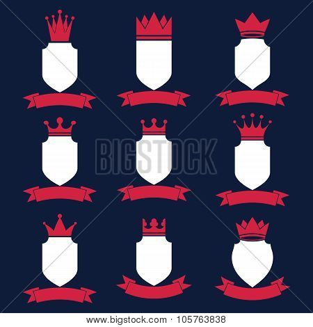 Collection of empire design elements. Heraldic royal coronet illustration. Set of luxury vector shields with king crown and undulate festive ribbon. poster