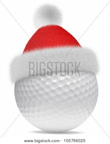 White Golfball In Santa Claus Red Hat