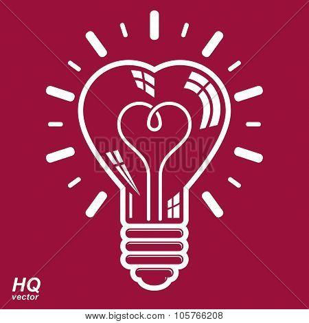 Vector Brain Storm Conceptual Icon - Corporate Problem Solution Theme. Electricity Light Bulb Symbol
