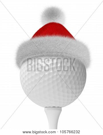 White Golf-ball On Tee In Santa Red Hat