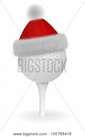 White Golf Ball On Tee In Santa Red Hat