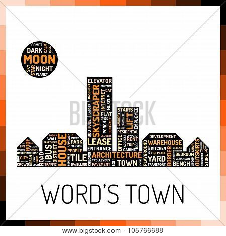 Wordcloud in shape of town