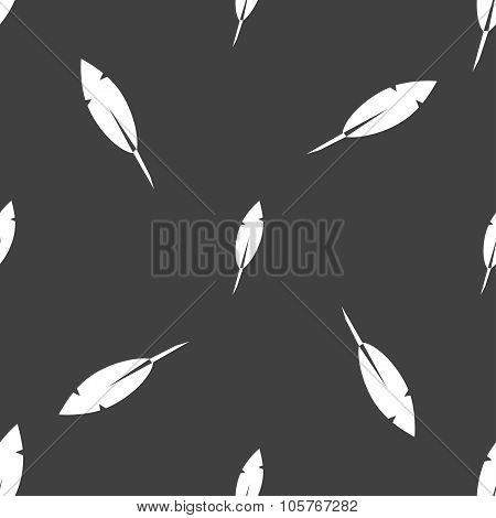Feather Sign Icon. Retro Pen Symbo. Seamless Pattern On A Gray Background. Vector