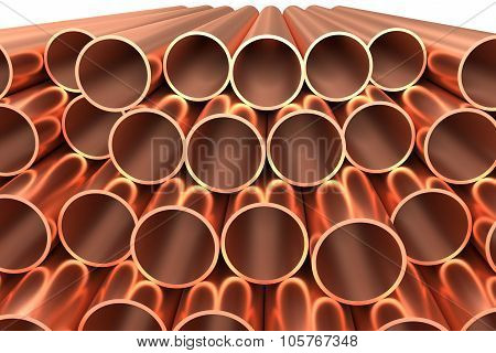 Shiny Copper Pipes In Rows Isolated