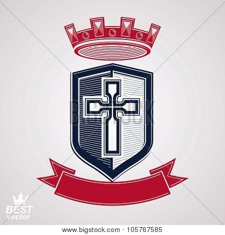 Imperial Insignia, Vector Royal Shield With Decorative Band And Monarch Coronet. Detailed