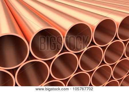 Shiny Copper Pipes In Rows