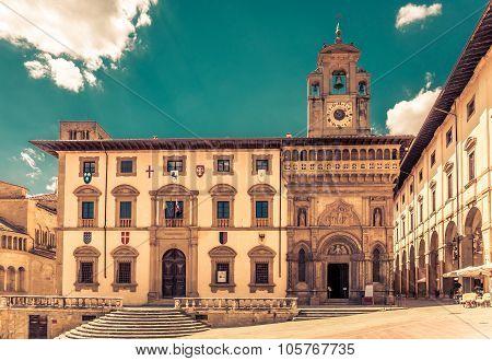Piazza Grande In Arezzo, Italy