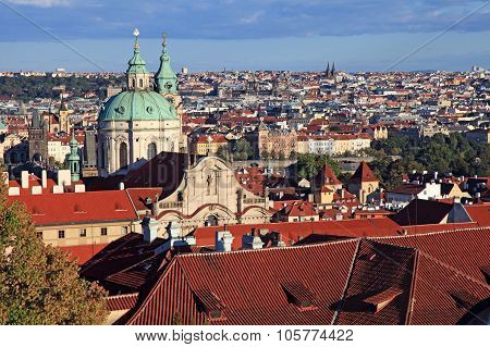 Panorama Of Malostranske Namesti, Prague Old Town With Red Roofs