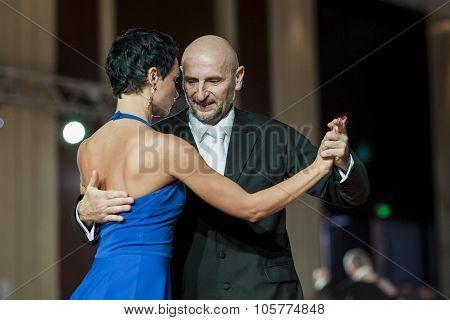 Minsk, Belarus - September 27, 2015: Professional Belarussian Couple Perform Pro-am Program Of Argen