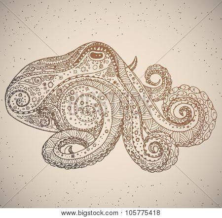 Octopus in oriental tribal ornament.