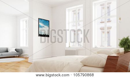 Bedroom with bed in Berlin, Germany in an old building (3D Rendering)